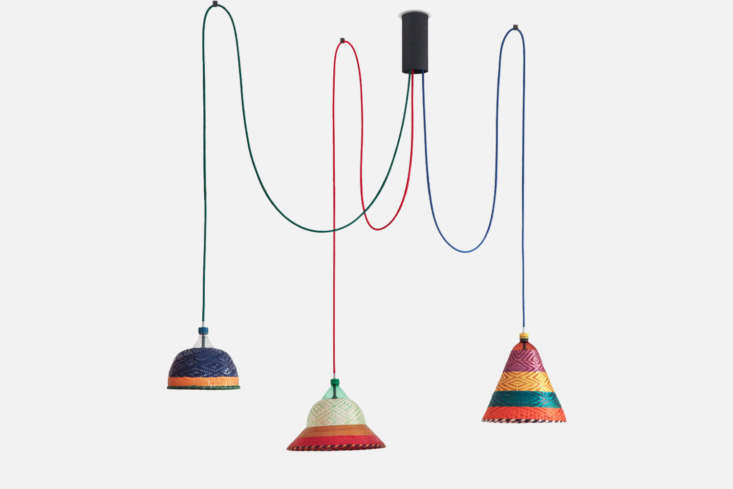 Spanish architect Catalán de Ocón makes the PET lamps hanging over the kitchen table from recycled soda bottles. The Eperara-Siapidara Set of Three Lamps is €760 at ACdO. Read more about the project atFantastic PlasticandAt Home with a Master of Recycling in Madrid.