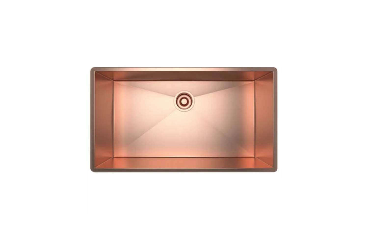 The Rohl Stainless Copper Single Basin Kitchen Sink is 30 inches long; $