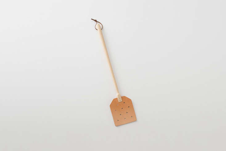 TheLeather Fly Swatter is particularly useful in a beachfront summer cottage. This one is $ at Schoolhouse.