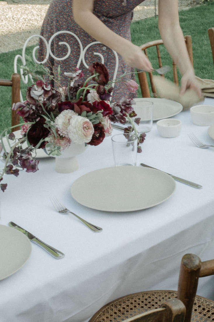 Setting the table in the garden, for a long, slow meal, French style.