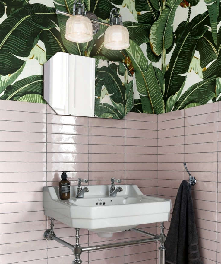 a pink and green scheme we can get behind: tropical wallpaper spotted alongside 12
