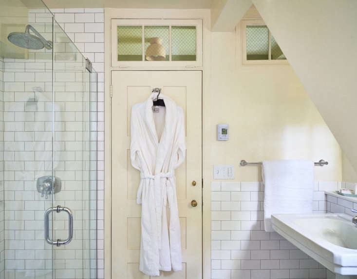 A Frette robe in one of the guest baths.