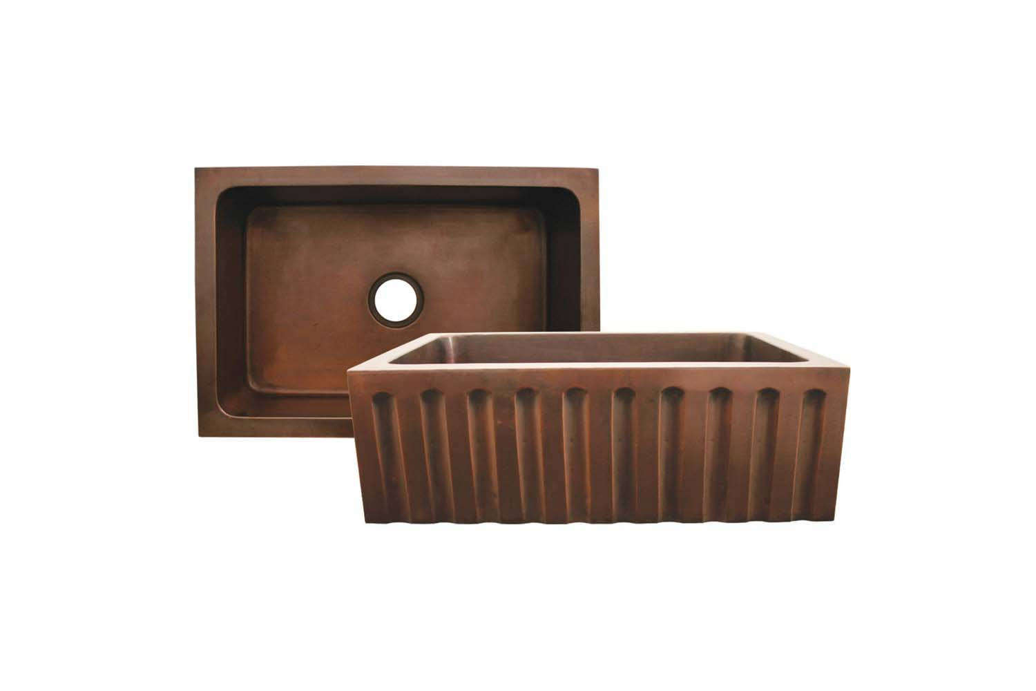 The Whitehaus Copperhaus Copper Farmhouse Sink with Fluted Design is $
