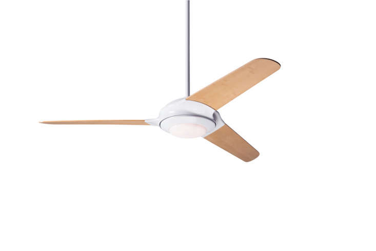 The Flow Modern Ceiling Fan from Barn Light can be customized in matte nickel or gloss white (shown) with the option of bamboo fan blades; $656 at Barn Light Electric Co.