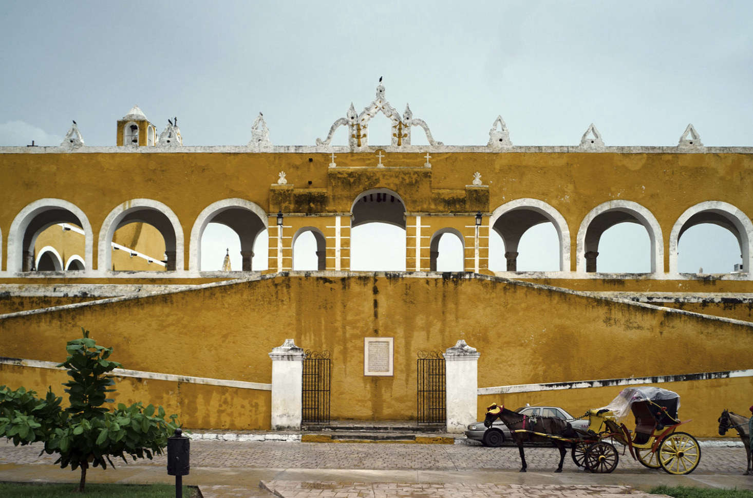 The colonial architecture of Izamal in its characteristic sun-gold shade.