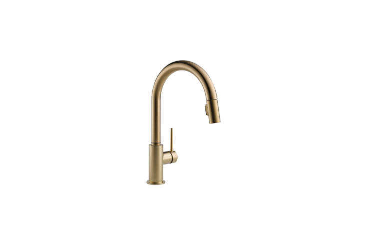 Steal This Look A SemiCustom Kitchen in Brooklyns Sunset Park The Delta Trinsic Single Handle Pull Down Sprayer Kitchen Faucet, shown in Champagne Bronze, is \$396.03 at Home Depot. For more ideas, see our post\10 Easy Pieces: Pull Down Sprayer Faucets.
