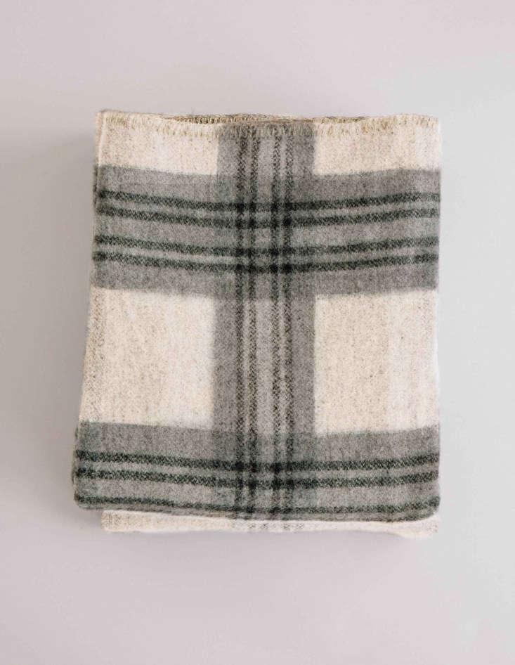 merino wool blanket in fog/ledge plaid from evangeline linens in maine 13