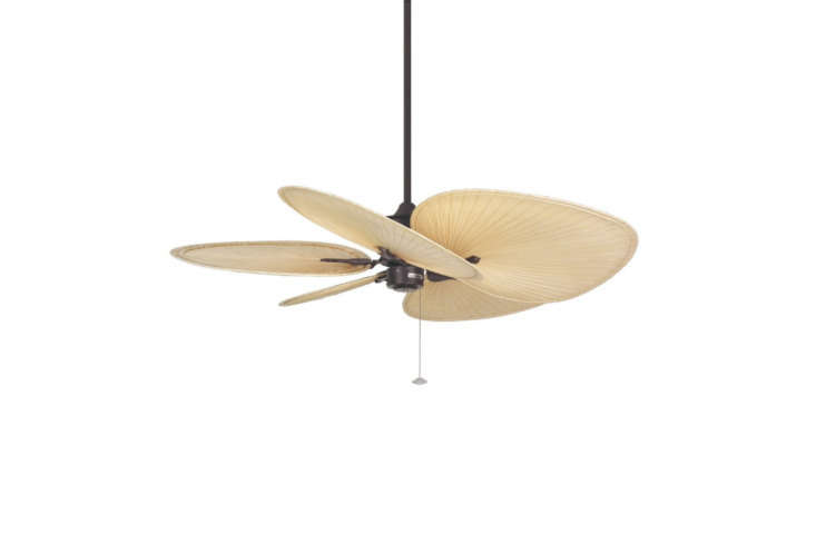 From Fanimation, the leading manufacturer of wood ceiling fans, the Islander 5 Blade Ceiling Fan comes in a range of finishes with palm leaf fan blades; $399.98 on Amazon.