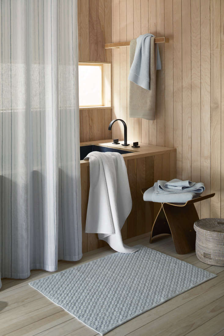 the new collection also includes bath accessories, such as the organic cotton b 17