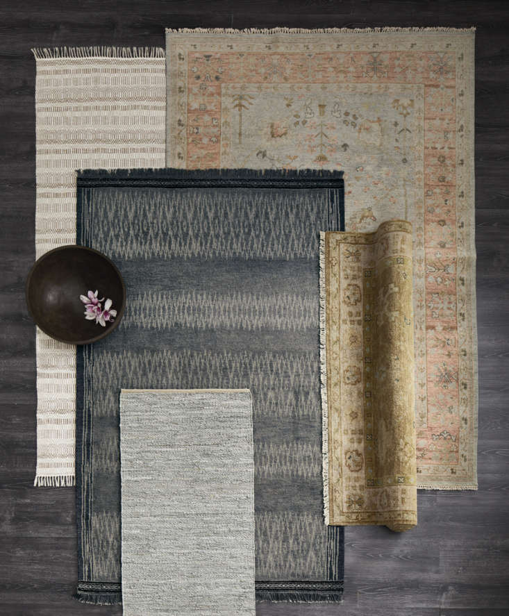 a selection of eileen fisher rugs. the dark gray ikat hand knotted rug(\$7\28 16