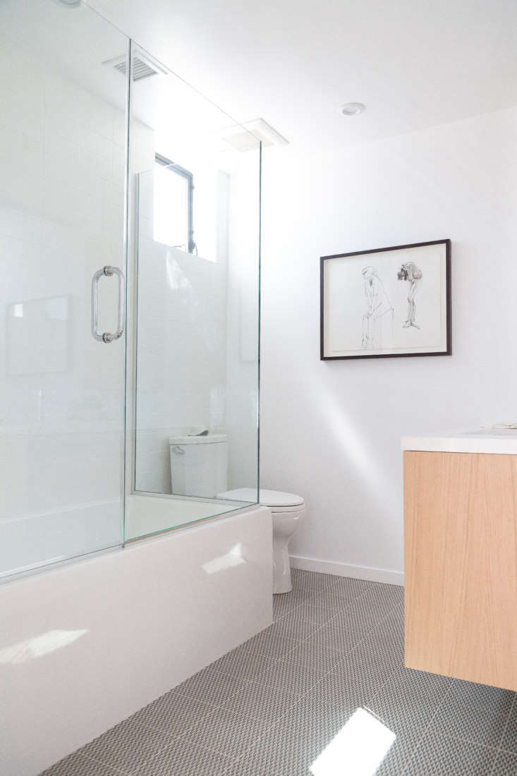 Let There Be Light Habitat 6 in Los Angeles Townhouses Designed for Brighter City Living A variation on the theme, with Azulej tiles on the floor. For continuity&#8\2\17;s sake, the bathroom vanities are white oak, like the floors and the living room built ins, with CesarStone counters.