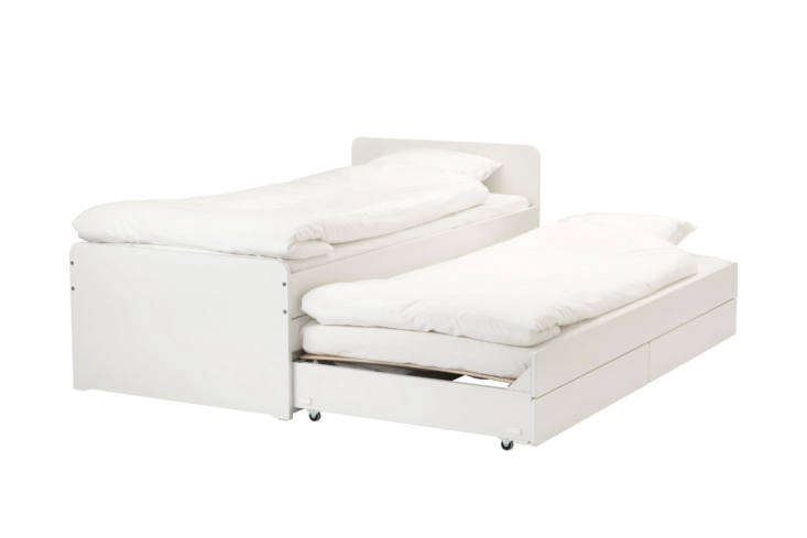 ikea&#8\2\17;ssläkt twin bed frame features both storage drawers and a p 9
