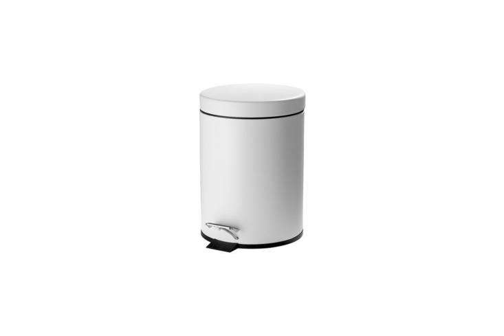 The small pedal bin the bathroom is the IkeaStrapats Pedal Bin in white; it is no longer at Ikeabut can be found through vendors on eBay for $.90. TheStrapats Pedal Bin in stainless steel is available at Ikea for $loading=