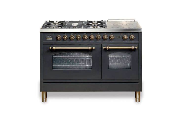 Italian company Ilve makes both the Nostalgie and Majestic series of retro-style ranges with different options for color, finish, and grill tops. The Majestic Range prices start at $4,999 at AJ Madison.
