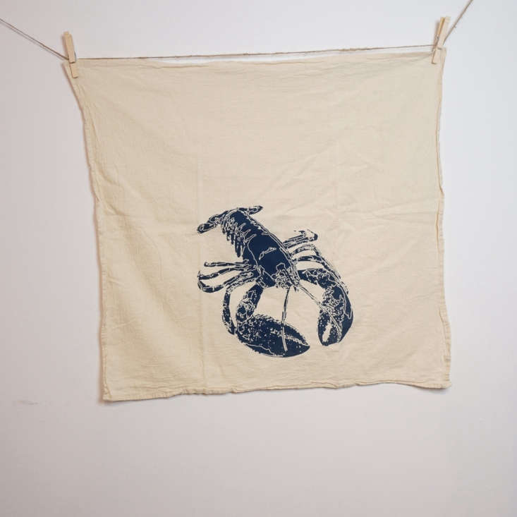 The hand-printed cotton Blue Lobster Tea Towel (it&#8