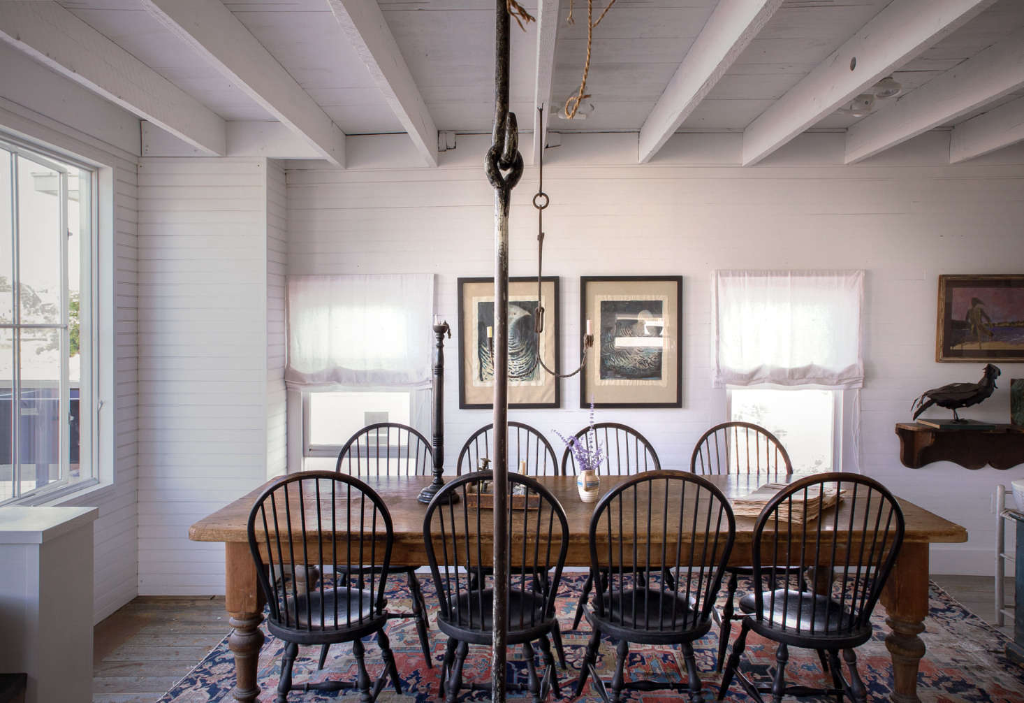 For dining, the couple uses a th-century English library table surrounded by reproduction Windsors found at ABC Carpet & Home. The trammel is an American piece, circa 70, found in New Hampshire in the early 90s.