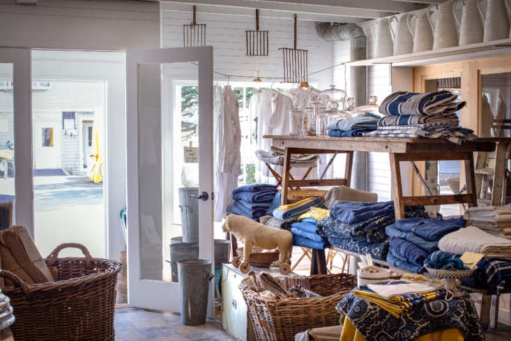 Inside the Marston House shop, vintage textiles, mostly from France,entice visitors as they pass along Main Street.