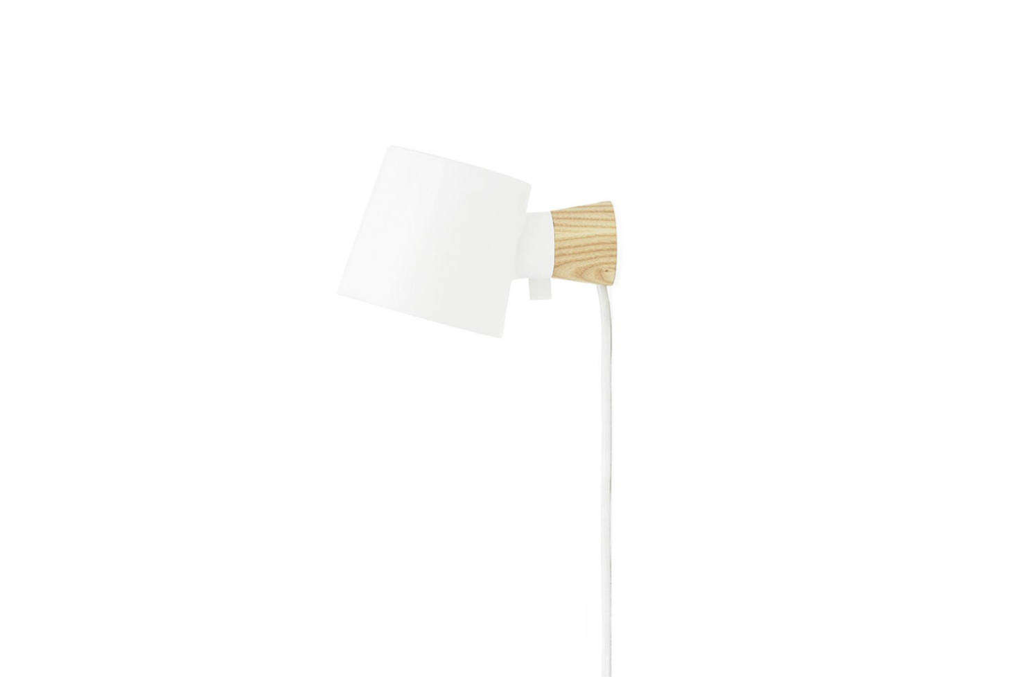 The Normann Copenhagen Rise Wall Lamp in White with an EU plug is $src=