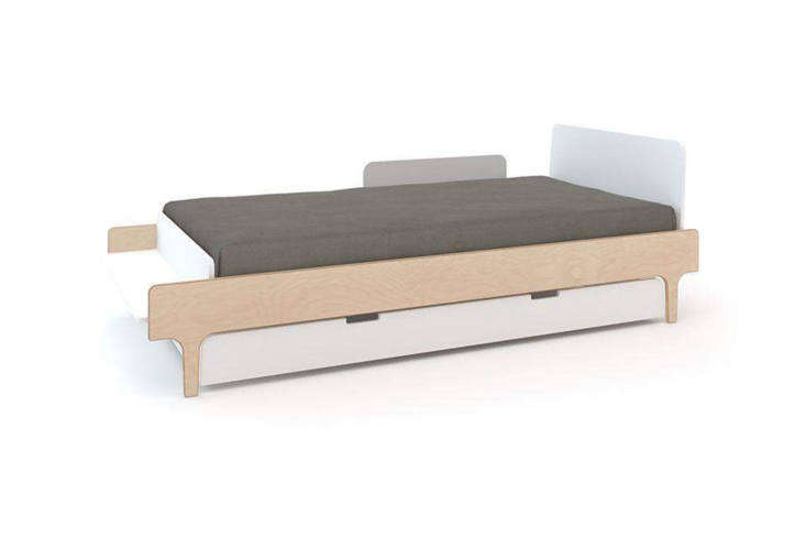 another style from oeuf, the whiteriver twin trundle bed (\$\296) pairs with  17