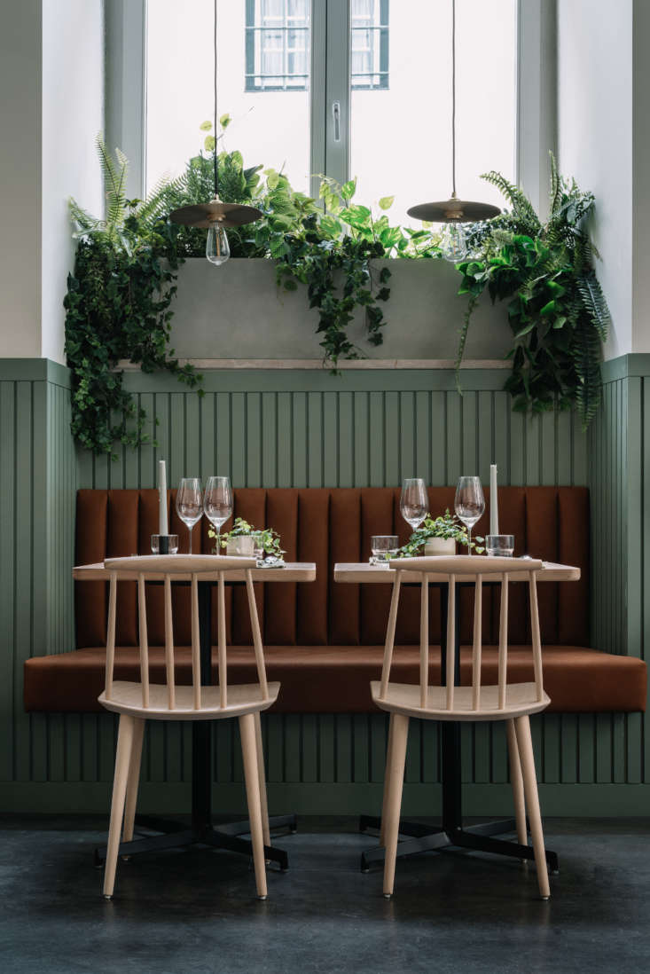 On each table: candles and small potted vines.