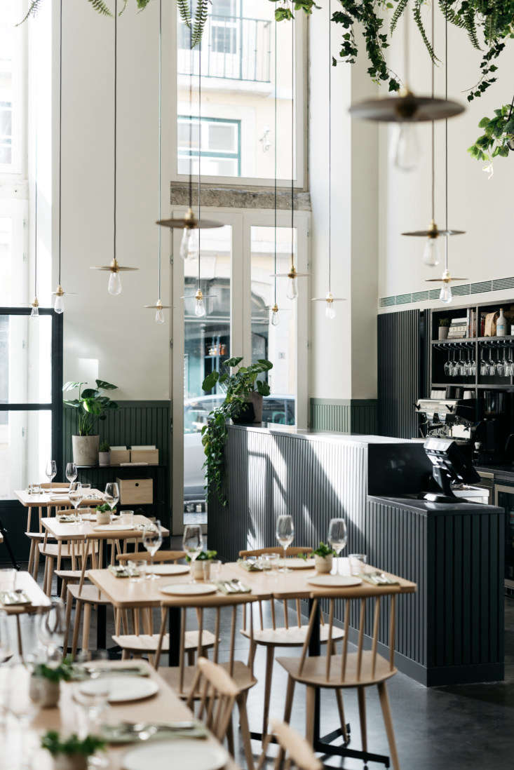 The interior of the restaurant still has the open, vegetal feeling of the overgrown factory, with tall ceilings and long pendant lights and vines trailing from the rafters. Cladding, painted in shades of dark green and black, grounds the space.