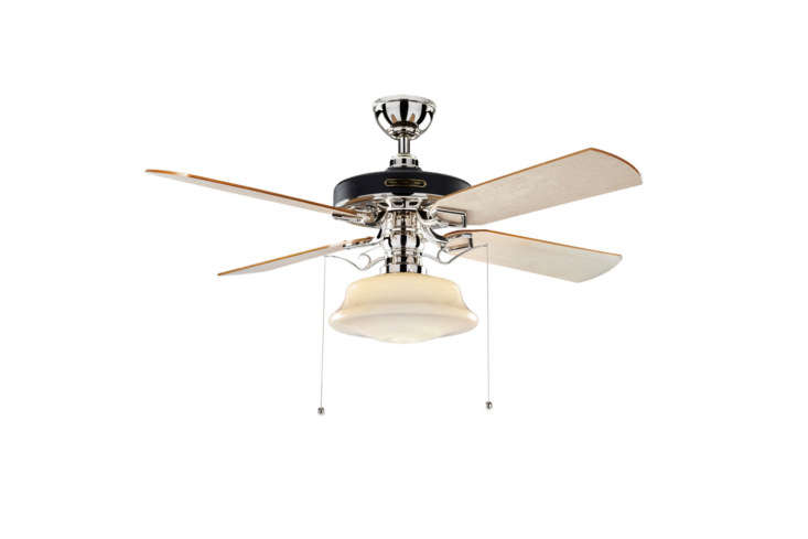 The Heron Ceiling Fan with Low Profile Shade from Rejuvenation is one of the many Heron styles of fans with maple blades and four different finishes (shown in polished nickel); $659 at Rejuvenation.