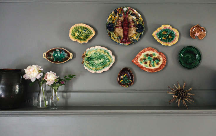 The antique Majolica plates over the mantel are from a variety of sources; some are from my own private collection and others (including the large lobster plate) are from Lewis & Maes Auctions in Houston.