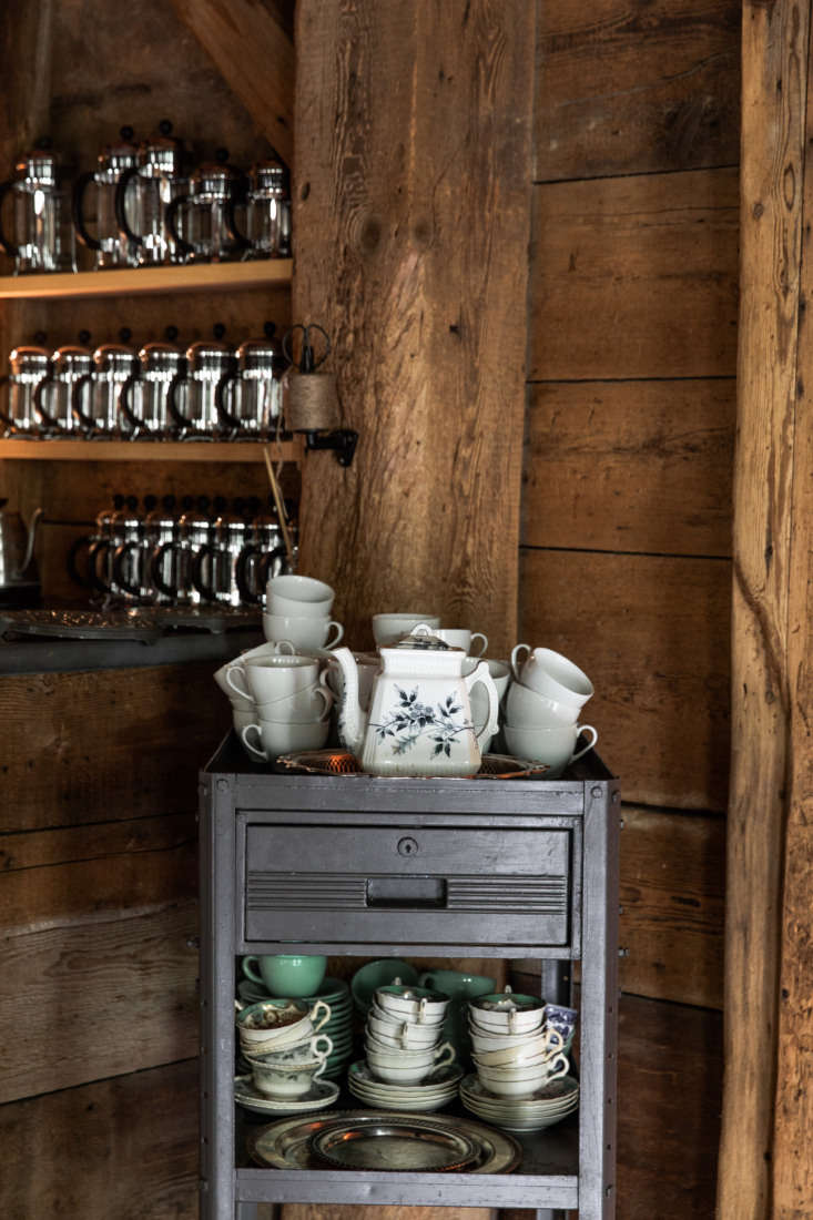 A vintage cart holds mix-and-match teacups that French has collected over the years.