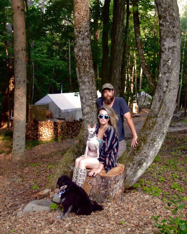 Welcome to the woods: Kat and Zak with their dogs, Cindy Pancake (on Kat&#8