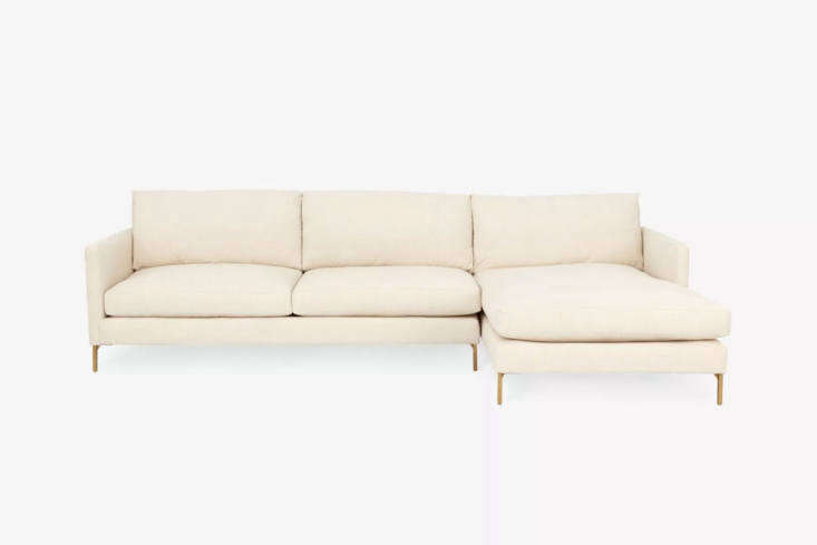 The Cobble Hill Hannah Sectional from ABC Carpet & Home comes as a chaise sectional and in three options for upholstery; $3,795 at ABC Carpet & Home.