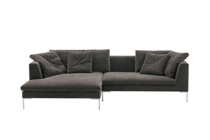 The Antonio Citterio-designed Charles Large Sofa by B&B Italia is a Remodelista favorite (see our post 5 Favorites: The Ultimate Architect-Designed Sofa). It comes in a range of sizes and configurations, one of which has a chaise-like extension. Contact B&B Italia for pricing and more information.