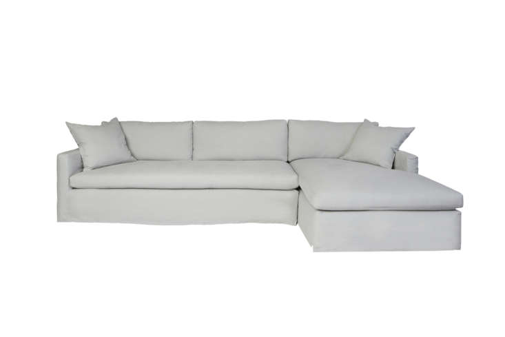 The Cisco Brothers Louis Two-Piece Sectional Sofa comes in a right or left chaise configuration and is available in the full range of Cisco Brothers upholstery options. Contact Cisco Brothers for price and retailer information.