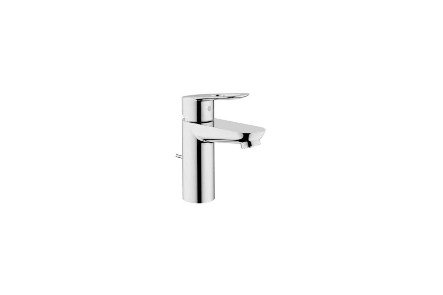 The bathroom sink faucet is the Grohe Starlight Chrome BauLoop Single Hole Bathroom Faucet for $data-src=