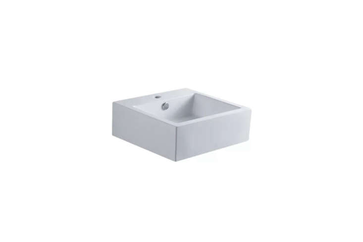 The basin is a Kingston Brass -Inch White Sierra Square Bath Sink for $4.90 at Faucet Direct.