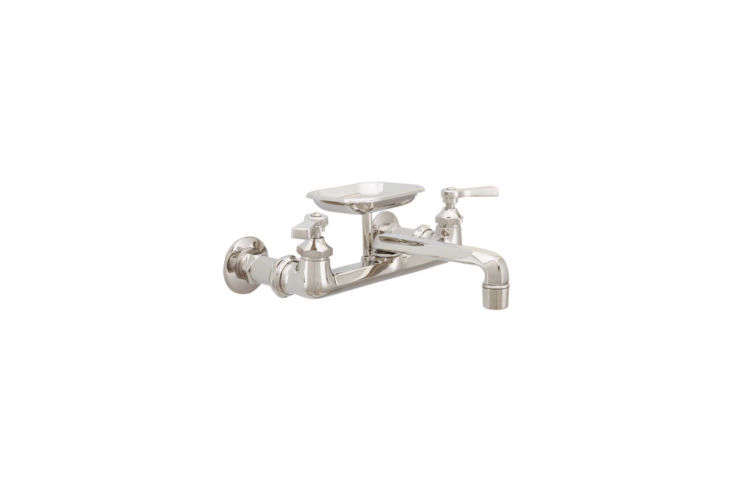 The solid brass Mississippi Wall-Mount Kitchen Faucet with Soap Holder and Flat Levers is available in three finishes (shown in polished nickel) for $47