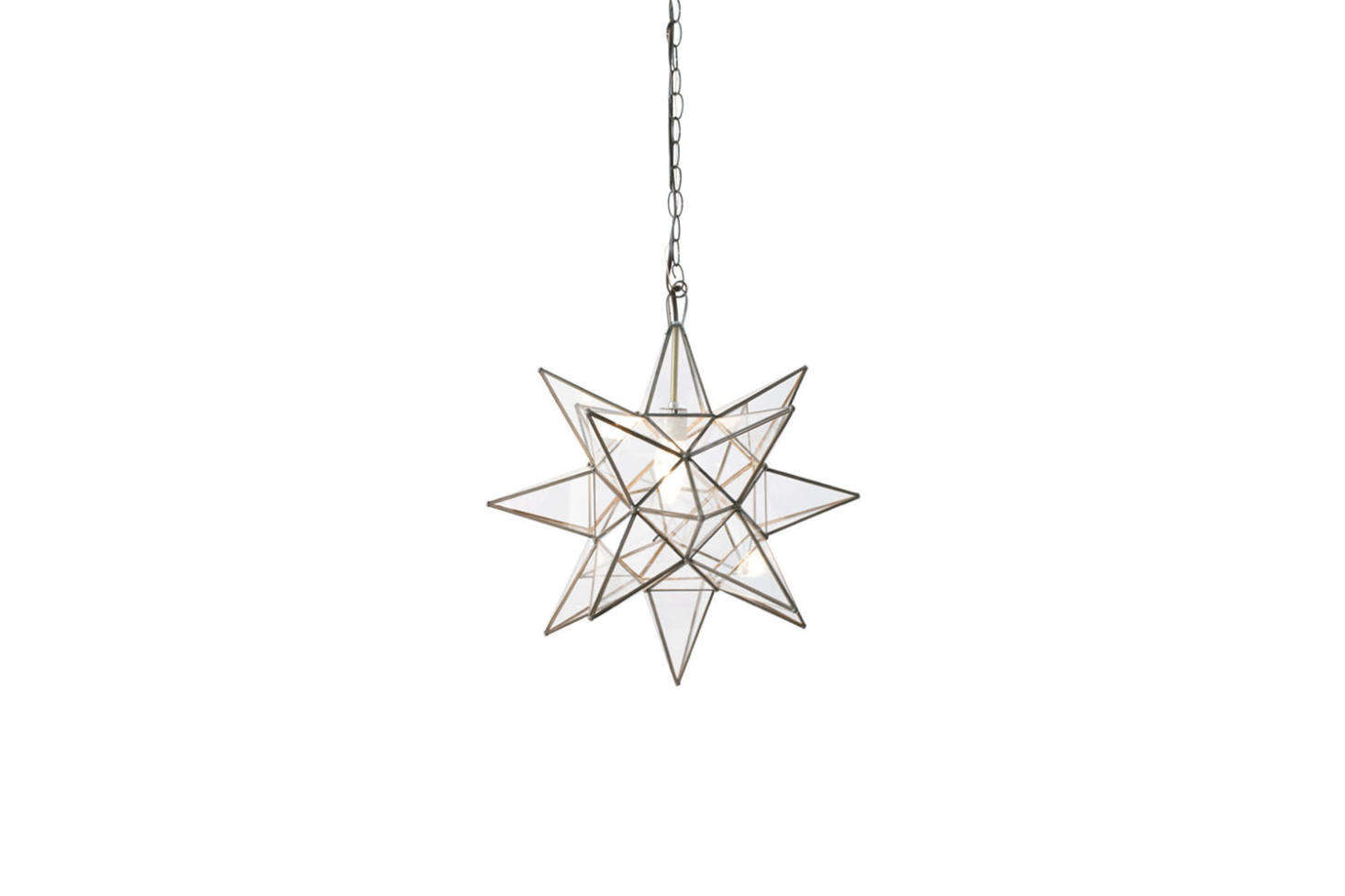 For a similar glass star pendant, consider the Petite Moravian Star Pendant in Bronze with Clear Glass;$8 at Shades of Light.