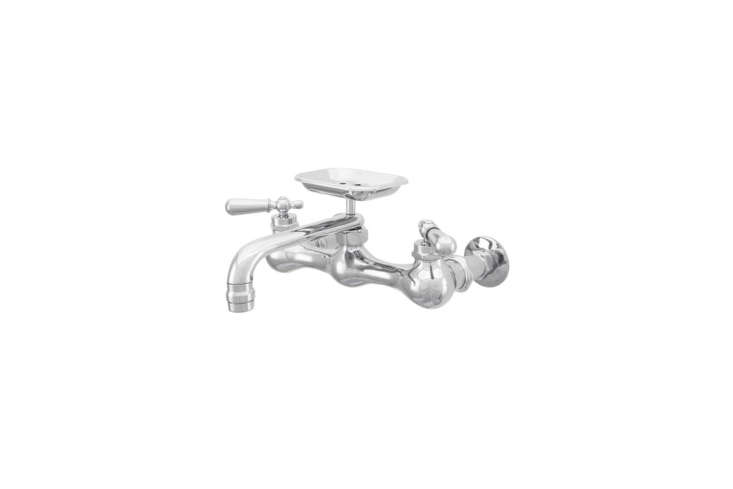 Available from House of Antique Hardware, the Platte Wall-Mount Kitchen Faucet with Soap Holder and Rounded Levers comes in three finishes (shown in polished chrome) for $589.90 to $6.90.
