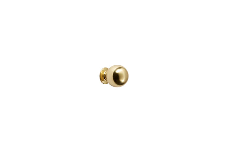 The Rejuvenation Ball Cabinet Knob in unlacquered brass is currently on sale for $8 at Rejuvenation.