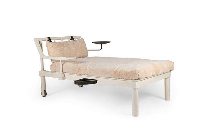 The inventiveRoche Daybed (from $8,0) has blush-colored shearling upholstery (a collaboration withfashion designer Ryan Roche) and inventive compartments for storage or holding a book while lounging.