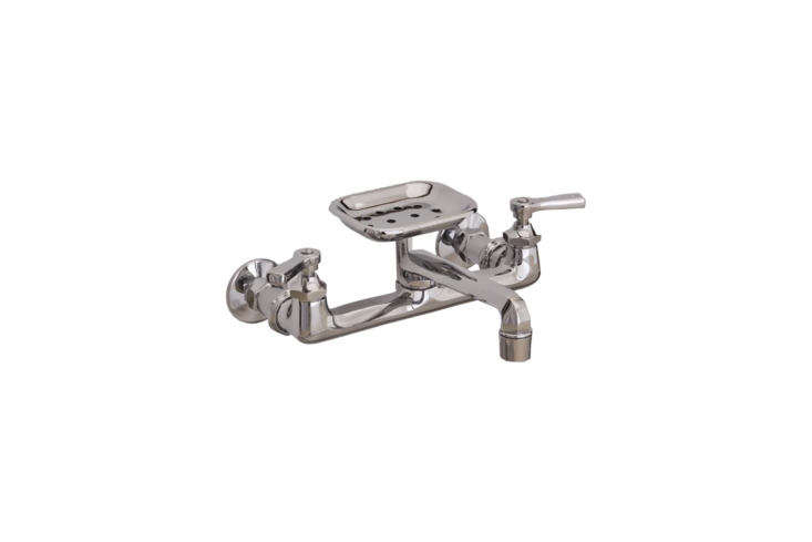 TheWall-Mount Kitchen Faucet with Soap Dish from Strom Plumbing comes in chrome, matte nickel, and polished nickel (shown) for $363 at Vintage Tub & Bath.