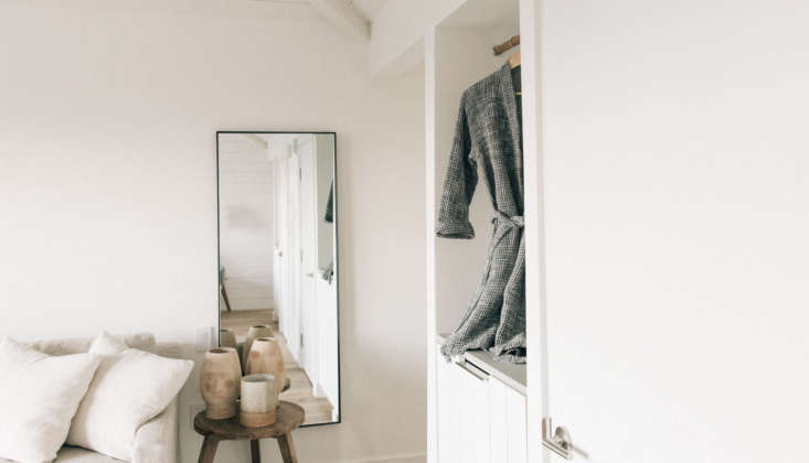 rooms are stocked with waffle robes from parachute and quirky clay face pots, m 13