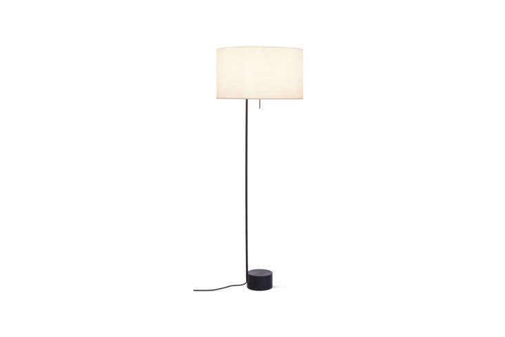 Designed by Jonah Takagi and Hallgeir Homstvedt, the Pleat Drum Floor Lamp has a powder-coated steel base and a pleated cotton shade; $495 at Design Within Reach.