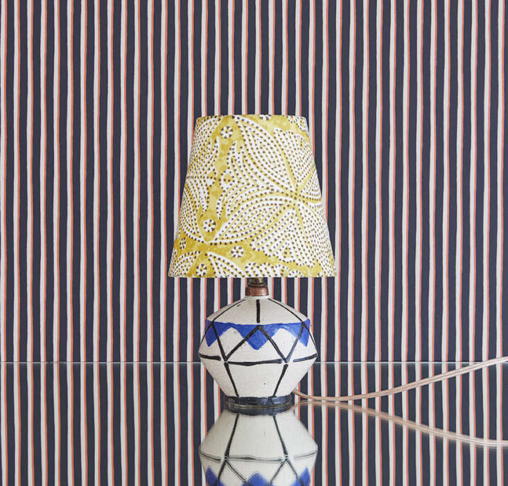 One of the many inspired vintage lighting combos on offer at The Apartment DK in Copenhagen: a30s French Ceramic Table Lamp and patterned shade, €540.