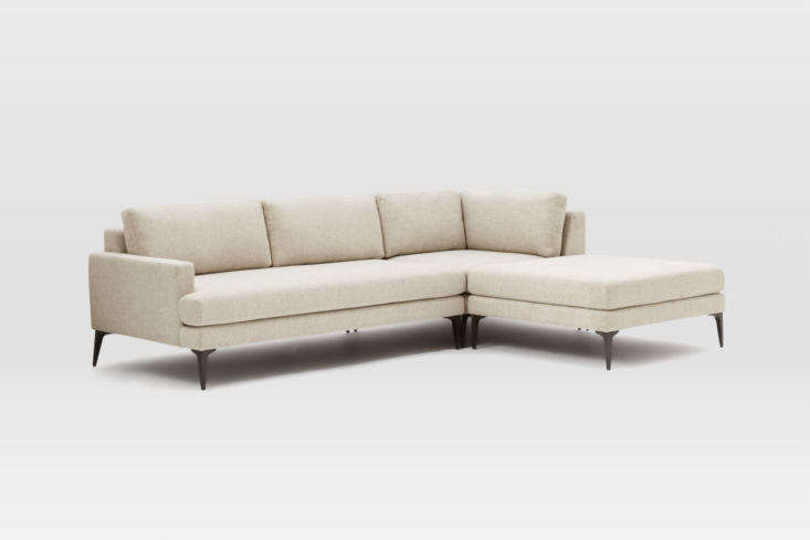The West Elm Andes 3-Piece Sectional Sofa is available in a left or right configuration and in a range of upholstery options. Prices start at $