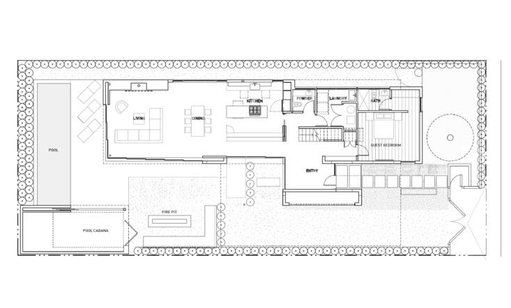 the first floor has a guest bedroom, laundry, and powder room tucked into the f 25