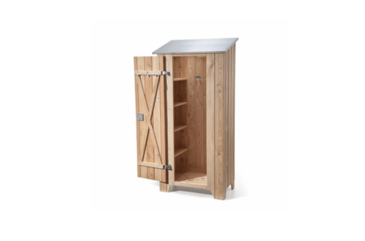 like a coat closet for your garden, a wooden garden shed can hold (and hide fro 10