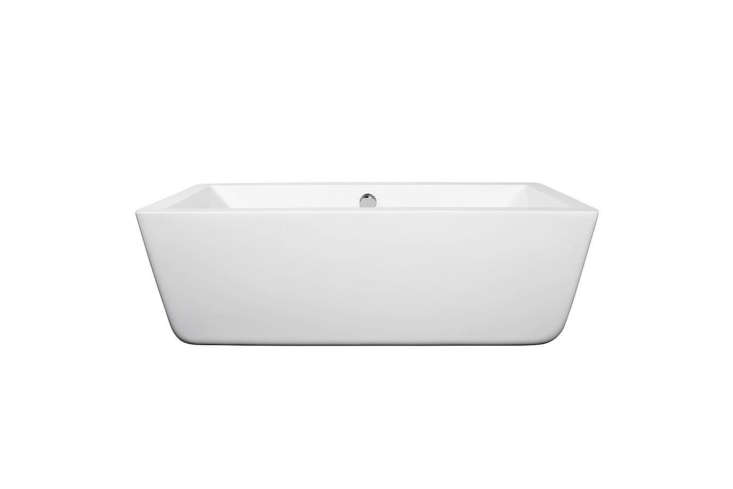 To fit a tub into the small end of the bathroom, Greif special-ordered the5.58-Foot Wyndham Collection Laura Soaking Tub for $8.65 at Home Depot.