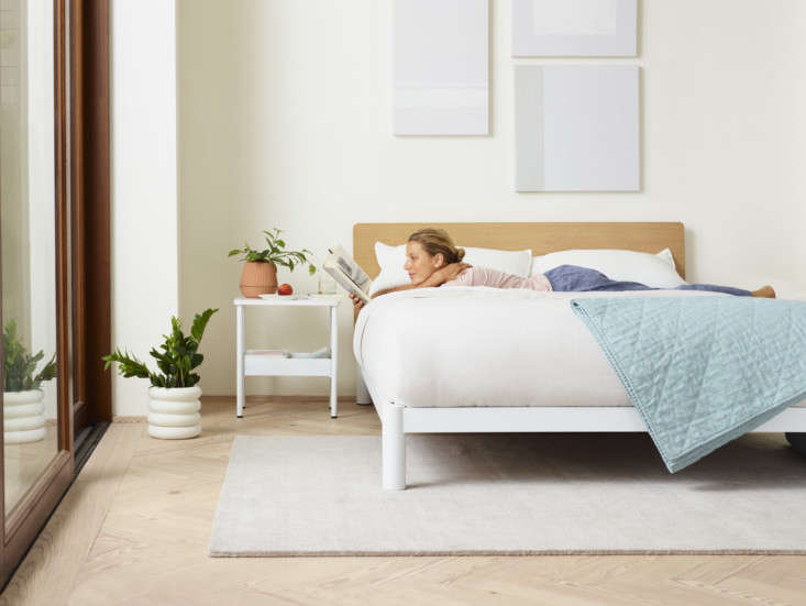 A Casper bedroom, complete with their new nightstand (which comes complete with a clever cord-control solution).