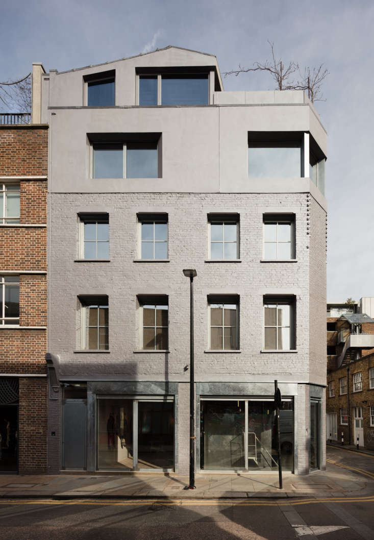 The school is located on the corner of Redchurch Street in a building that 6a reinvented, starting with the facade of silver brick and galvanized steel that shimmers in the sun.Diners enter through a private stair on the left, and the restaurant occupies the second floor.