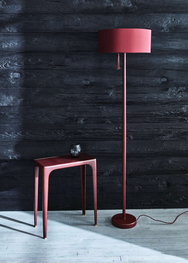 The Sungaya Lamp in burgundy.